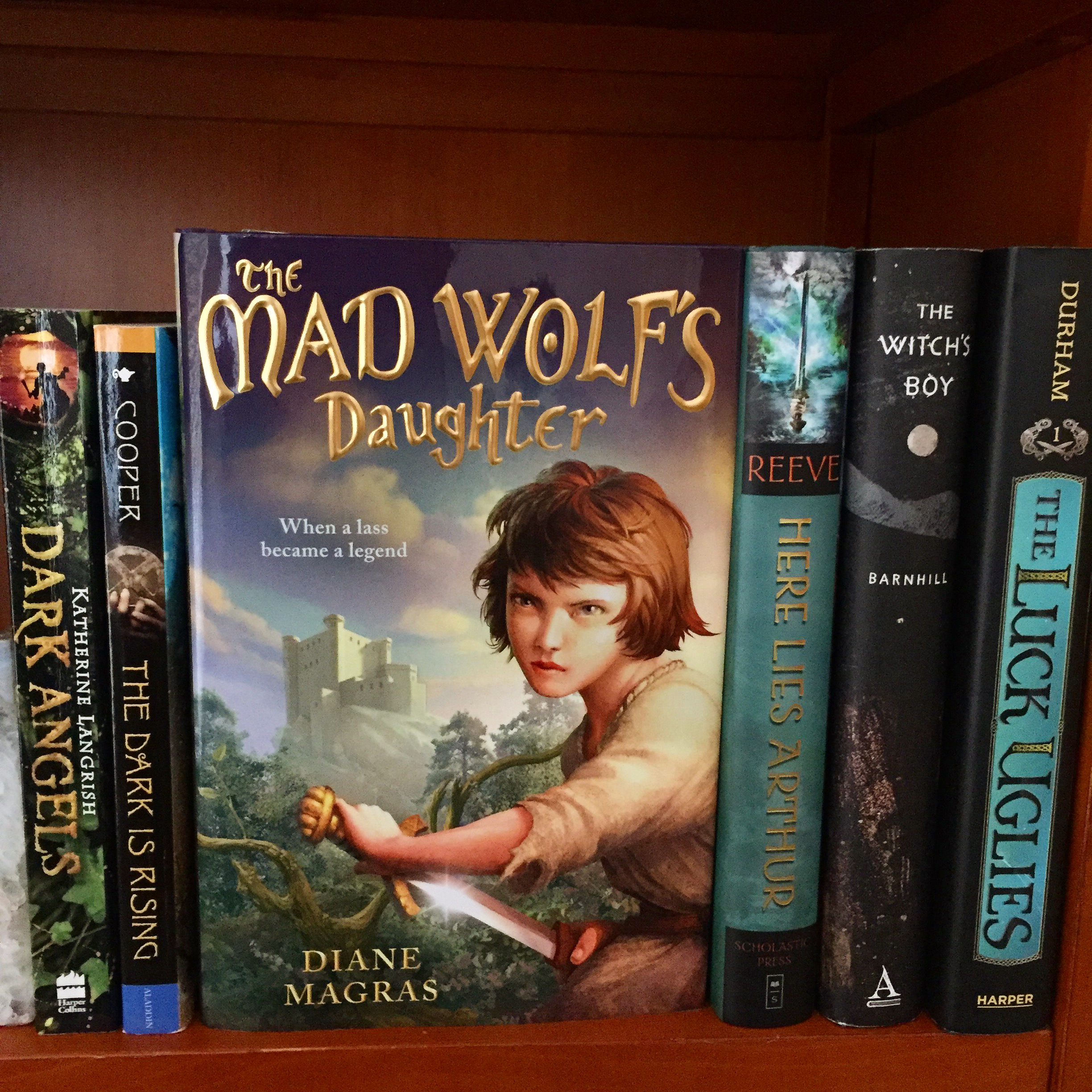 The Mad Wolf's Daughter on a shelf of other books